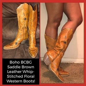 BCBG Leather Whip-Stitched Floral Western Boots!